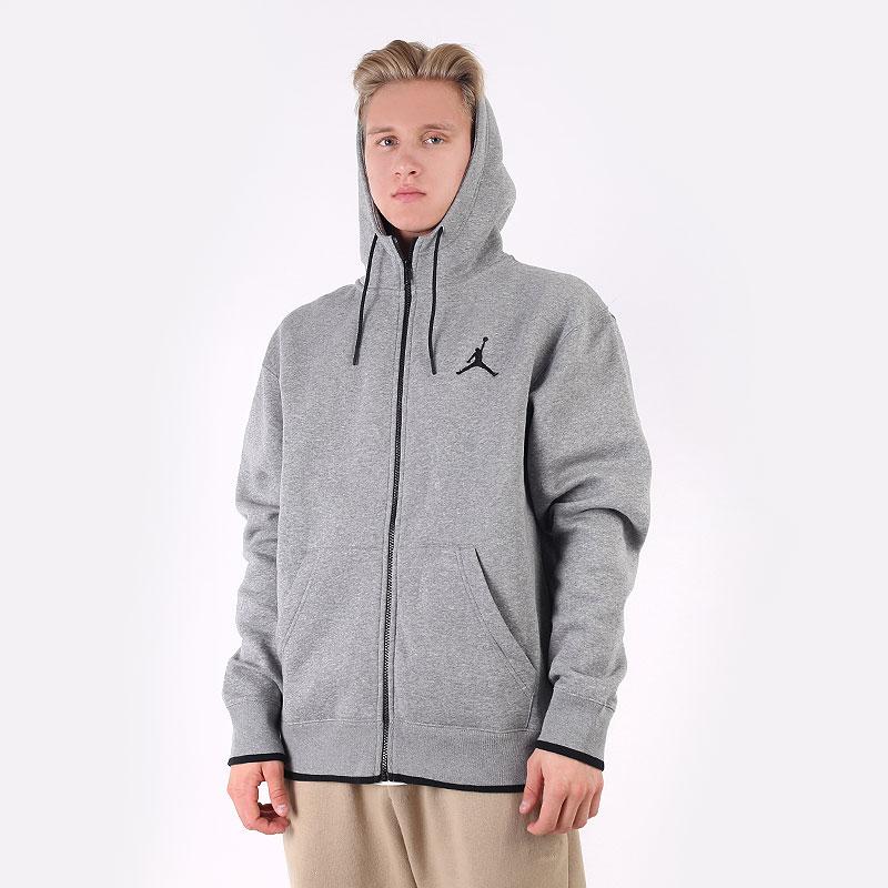 мужскую серую  толстовка jordan jumpman classic full-zip fleece hoodie CV2355-091 - цена, описание, фото 1