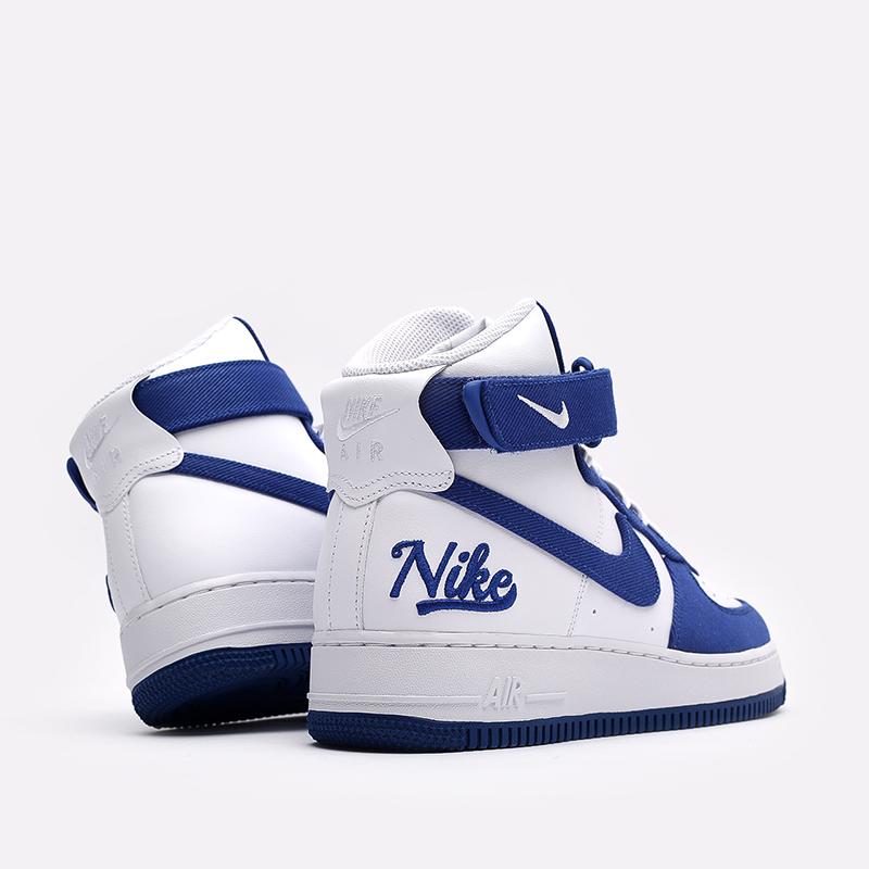 мужские белые, синие  кроссовки nike air force 1 high '07 lv8 emb DC8168-100 - цена, описание, фото 4