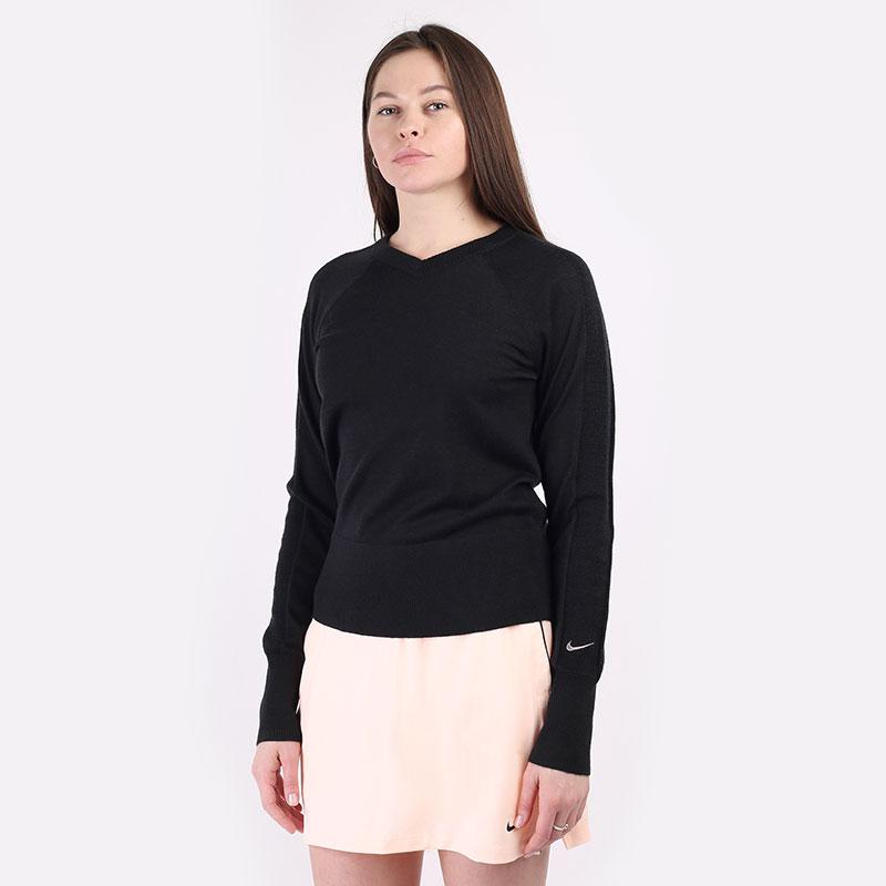 женский черный  свитер nike  ace women's long-sleeve golf jumper CU9338-010 - цена, описание, фото 1