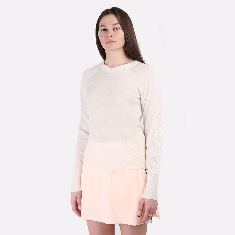 женский бежевый  свитер nike  ace women's long-sleeve golf jumper CU9338-121 - цена, описание, фото 1