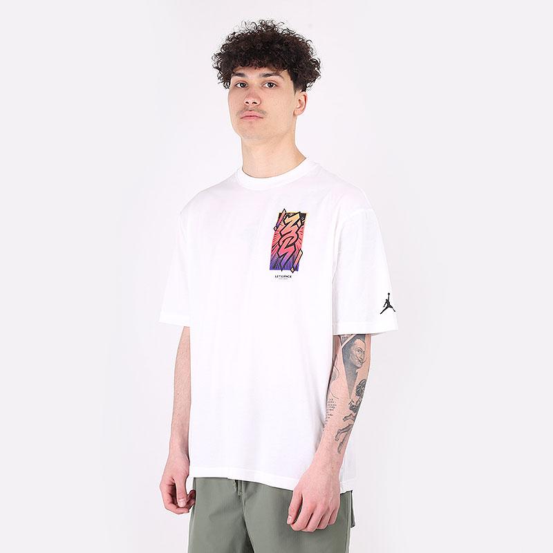 мужскую белую  футболка jordan dri-fit zion  DH0592-100 - цена, описание, фото 1