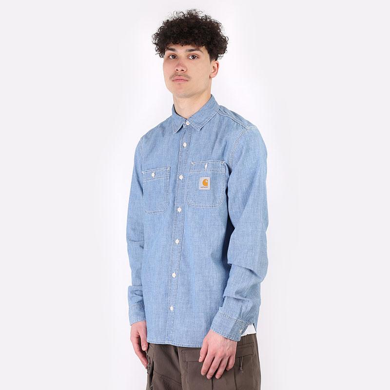 мужскую голубую  рубашку carhartt wip l/s clink shirt I029185 - цена, описание, фото 1