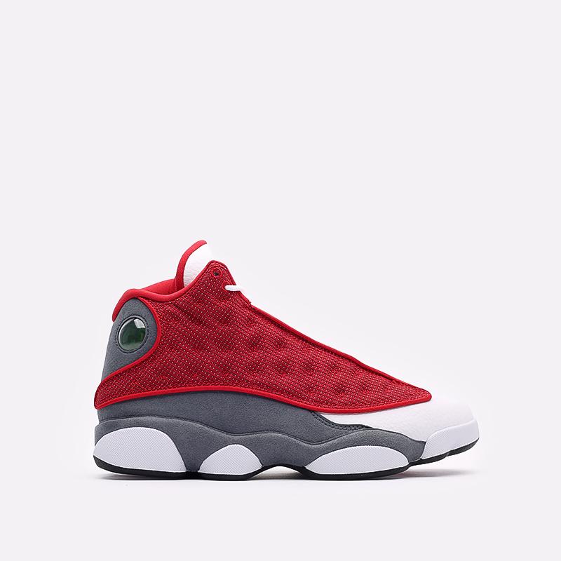 мужские белые, красные, серые  кроссовки jordan 13 retro DJ5982-600 - цена, описание, фото 1