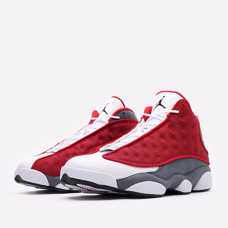 мужские белые, красные, серые  кроссовки jordan 13 retro DJ5982-600 - цена, описание, фото 4