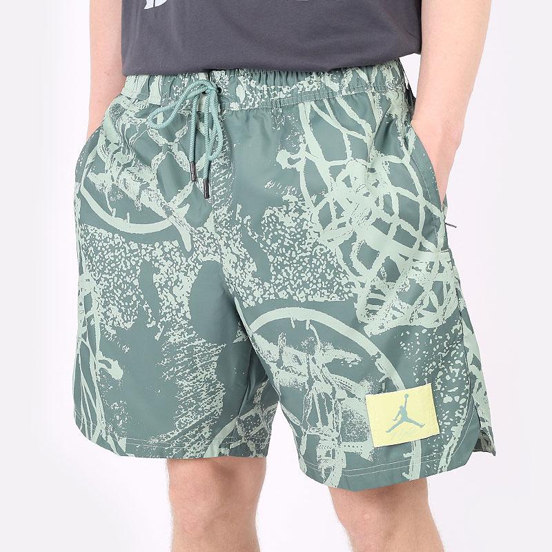 мужские зеленые шорты  Jordan Flight Printed Poolside Shorts CZ4749-006 - цена, описание, фото 1