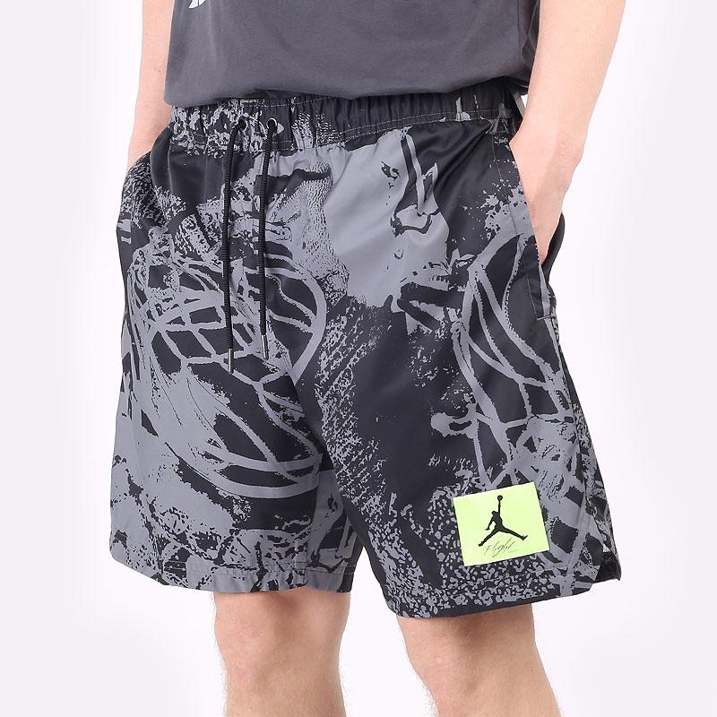 мужские черные  шорты  jordan flight printed poolside shorts CZ4749-010 - цена, описание, фото 1