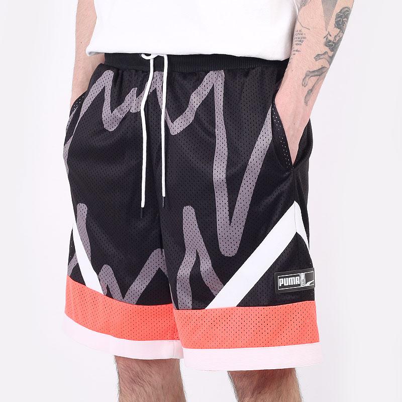 мужские черные  шорты  puma jaws mesh short 53050801 - цена, описание, фото 1