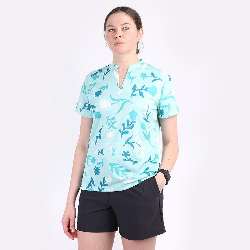 женский голубой  поло nike breathe women's printed golf polo CU9381-382 - цена, описание, фото 1