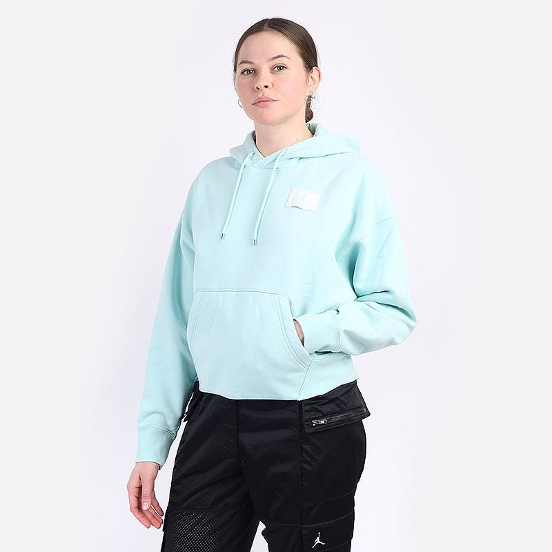 женскую голубую  толстовка jordan flight women's fleece pullover hoodie CV7737-382 - цена, описание, фото 1