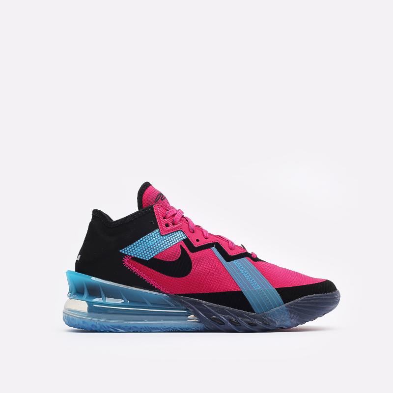 мужские чёрные, малиновые, голубые  кроссовки nike lebron xviii low CV7562-600 - цена, описание, фото 1