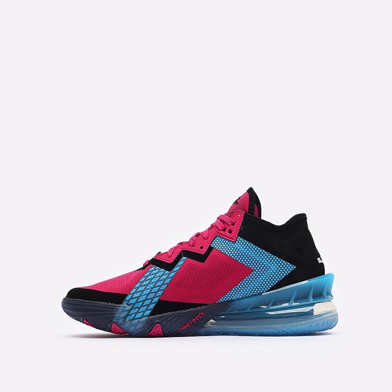 мужские чёрные, малиновые, голубые  кроссовки nike lebron xviii low CV7562-600 - цена, описание, фото 2