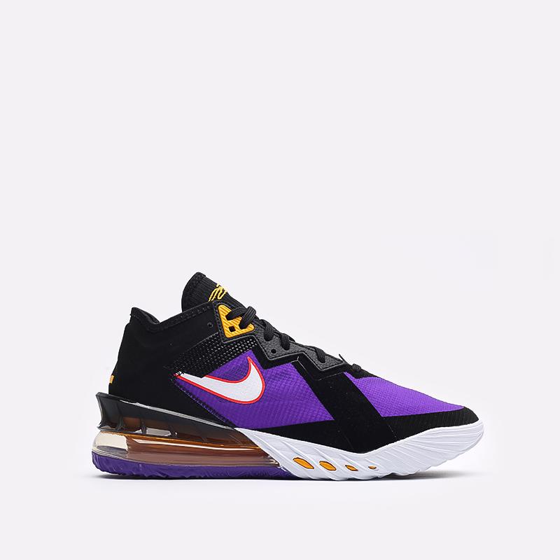 мужские чёрные, фиолетовые  кроссовки nike lebron xviii low CV7562-003 - цена, описание, фото 1