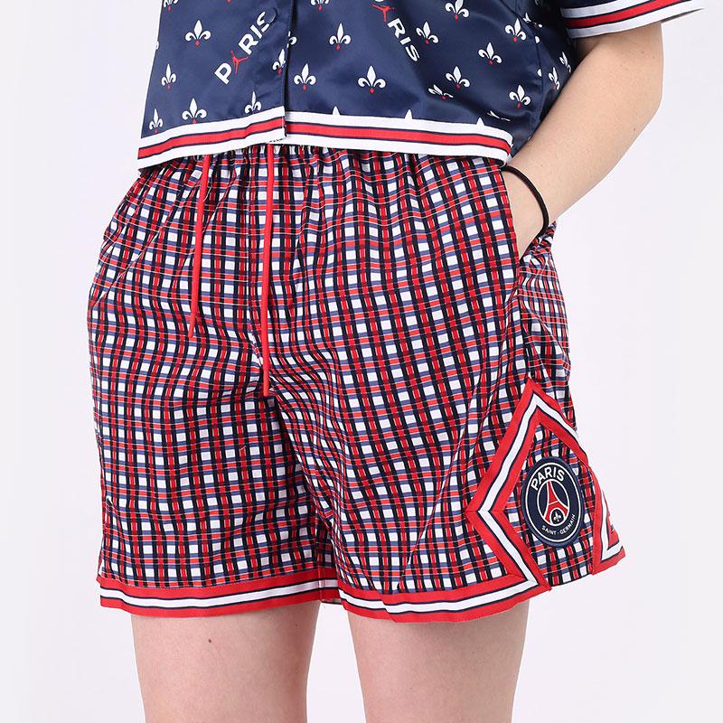 женские красные  шорты  jordan paris saint-germain women's woven shorts DC0459-657 - цена, описание, фото 1