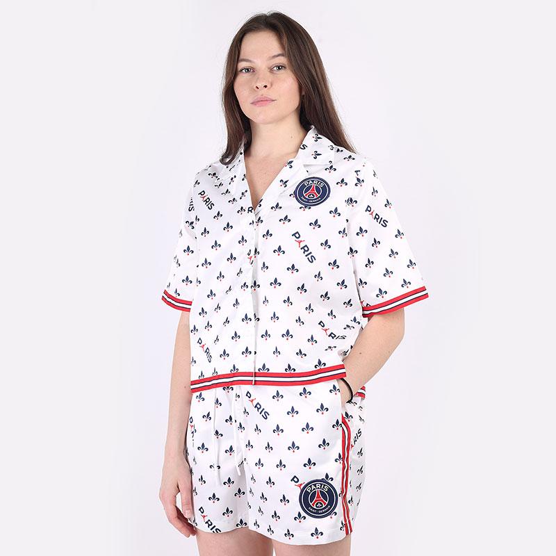 женскую белую  рубашку jordan paris saint-germain women's short-sleeve printed top DC0451-100 - цена, описание, фото 1