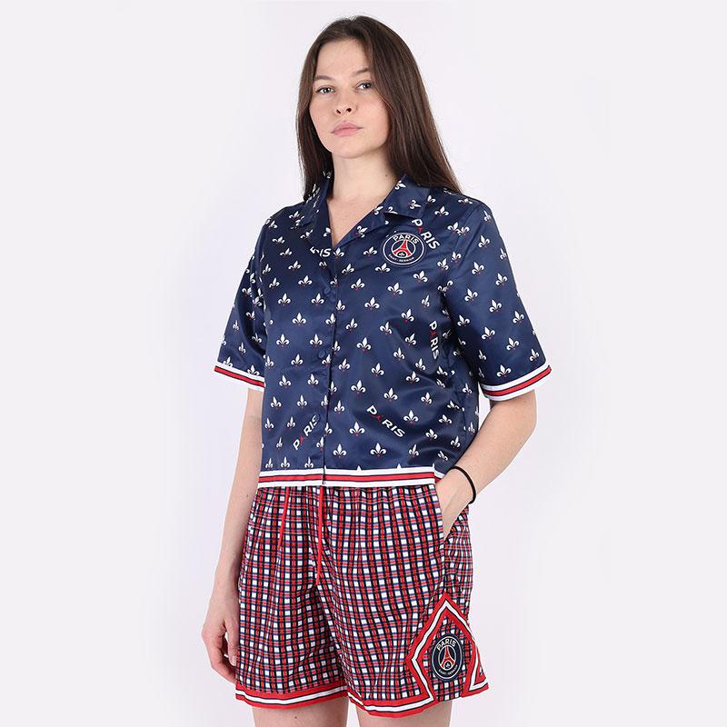 женскую синюю  рубашку jordan paris saint-germain women's short-sleeve printed top DC0451-410 - цена, описание, фото 1