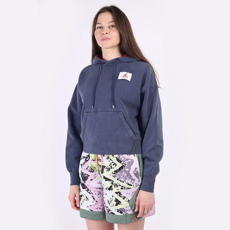 женскую синюю  толстовка jordan flight fleece hoodie CV7737-410 - цена, описание, фото 1