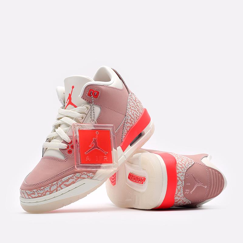 женские розовые  кроссовки jordan wmns 3 retro CK9246-600 - цена, описание, фото 6