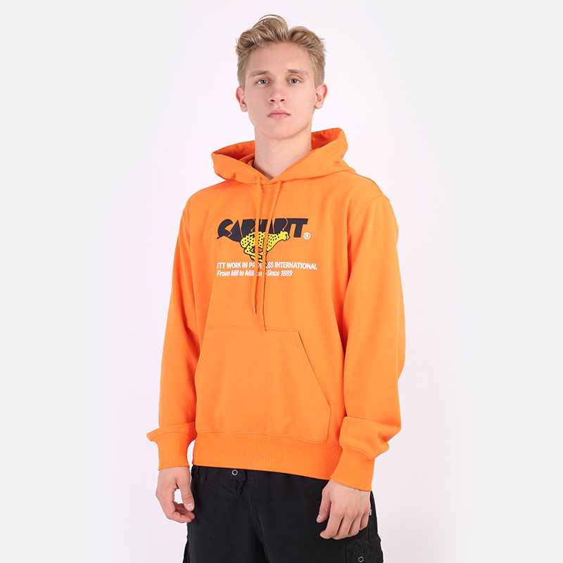 мужскую оранжевую  толстовка carhartt wip hooded runner sweat I029941-hokkaido - цена, описание, фото 1