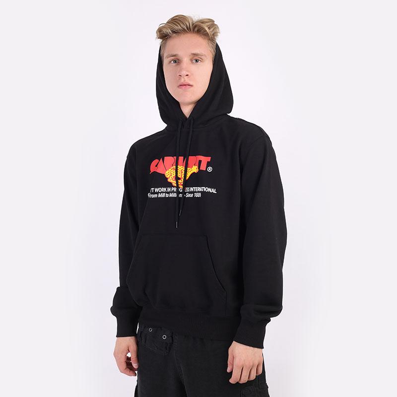 мужскую черную  толстовка carhartt wip hooded runner sweat I029941-black - цена, описание, фото 1