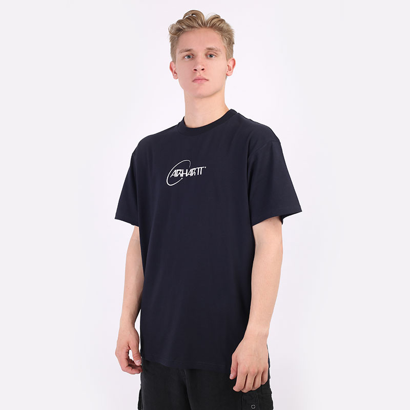 мужскую синюю  футболка carhartt wip s/s orbit t-shirt I029928-navy/white - цена, описание, фото 1