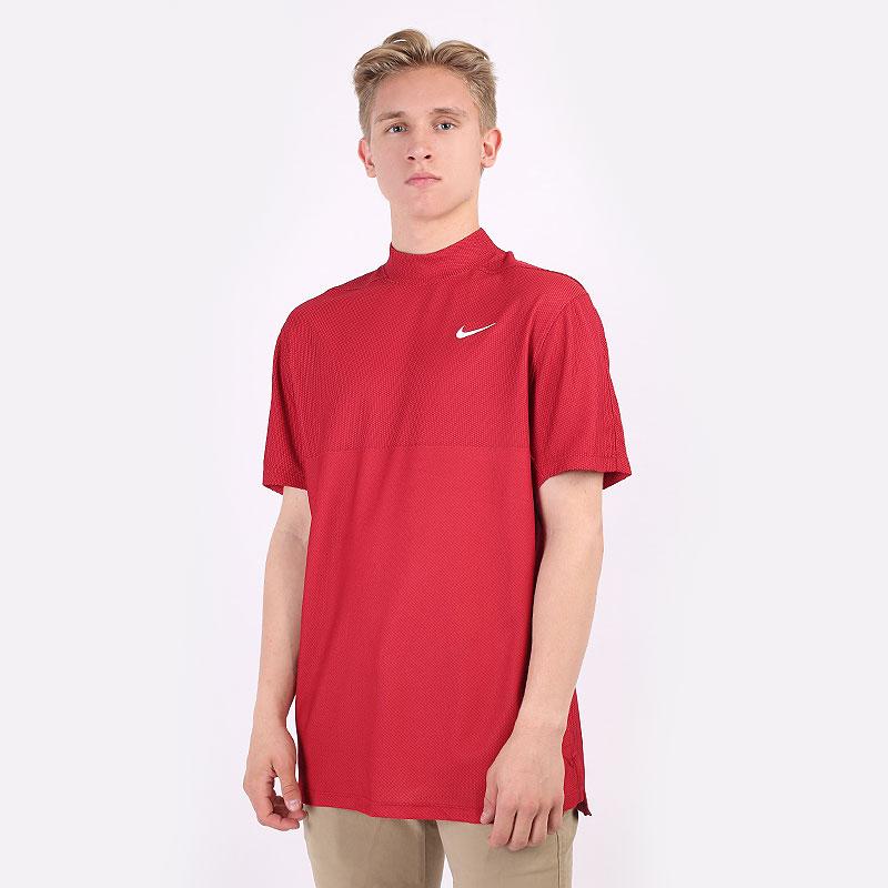 мужскую красную  футболка nike dri-fit tiger woods mock neck golf shirt CU9526-677 - цена, описание, фото 1