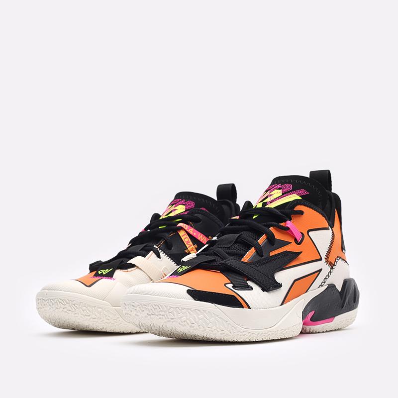 мужские оранжевые, чёрные  кроссовки jordan why not zero.4 DD4887-100 - цена, описание, фото 4