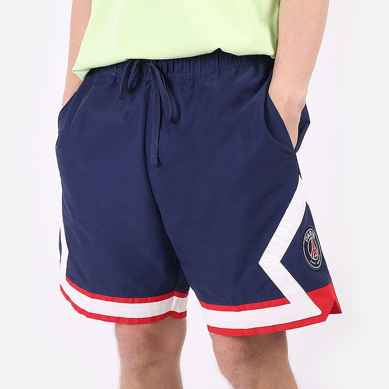 мужские синие  шорты  jordan paris saint-germain jumpman shorts DB6516-410 - цена, описание, фото 1