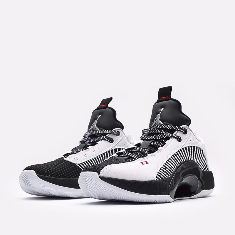 мужские белые, чёрные  кроссовки jordan xxxv low CW2460-101 - цена, описание, фото 4