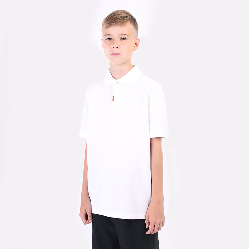 детский белый  поло nike junior dri-fit polo 2.0 DH1555-100 - цена, описание, фото 1