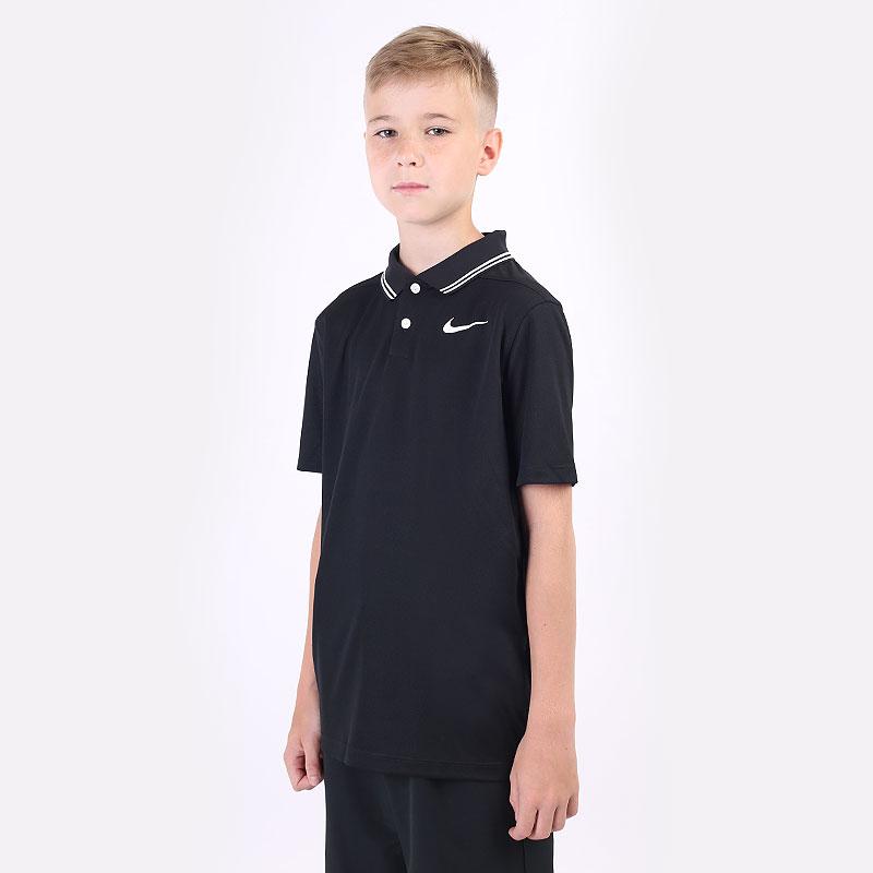 детский черный  поло nike dri-fit victory boys' golf polo BV0404-010 - цена, описание, фото 1