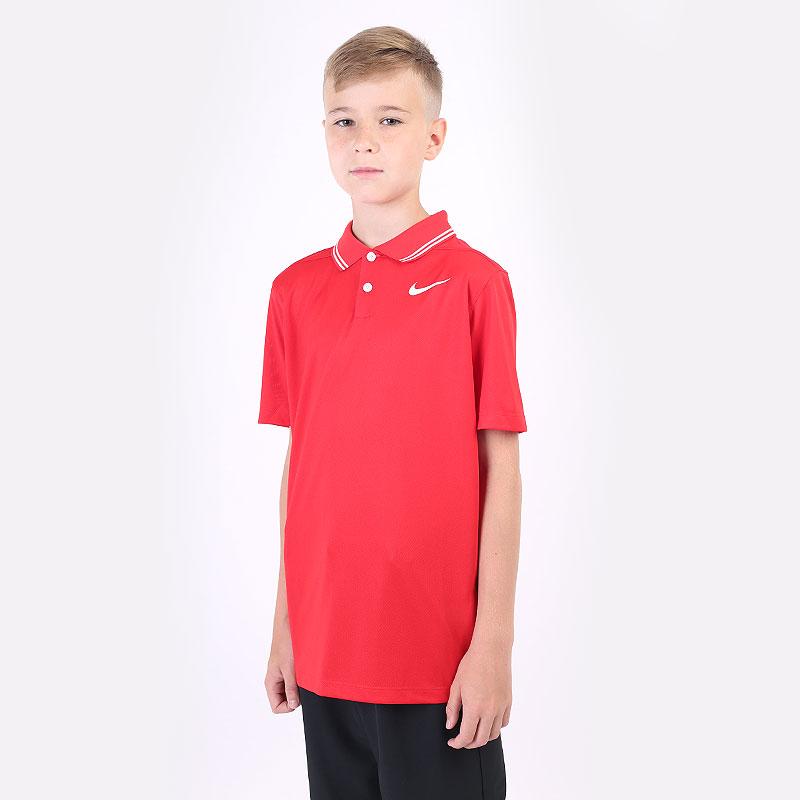 детский красный  поло nike dri-fit victory boys' golf polo BV0404-657 - цена, описание, фото 1