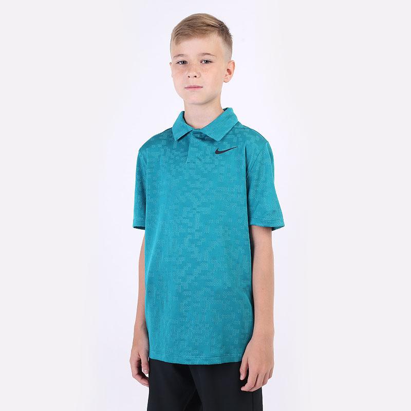 детский голубой  поло nike dri-fit tiger woods big kids' printed golf polo CW4844-467 - цена, описание, фото 1