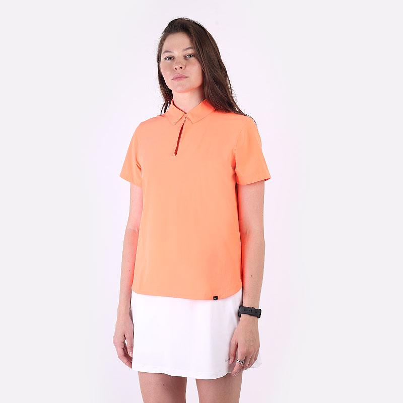 женский оранжевый  поло nike flex ace women's golf polo CU9349-854 - цена, описание, фото 1