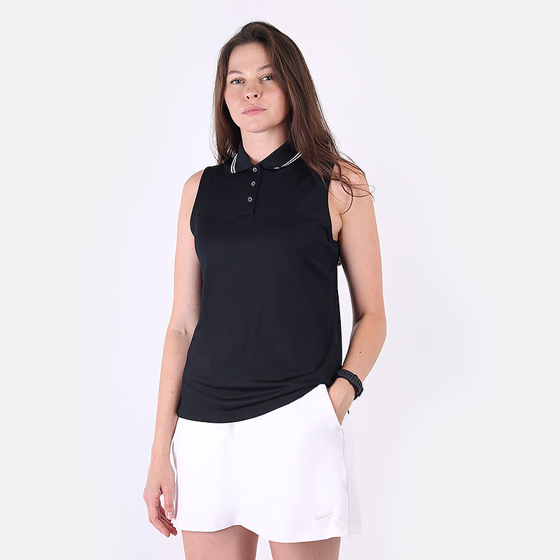 женский черный  поло nike dri-fit victory women's sleeveless golf polo BV0223-010 - цена, описание, фото 1