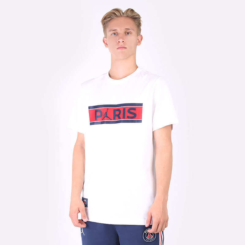 мужскую белую  футболка jordan paris saint-germain t-shirt DB6510-100 - цена, описание, фото 1