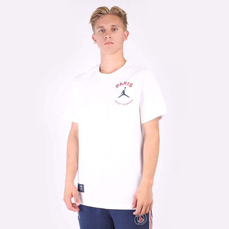 мужская белая футболка Jordan Paris Saint-Germain Logo T-Shirt DB6514-100 - цена, описание, фото 1