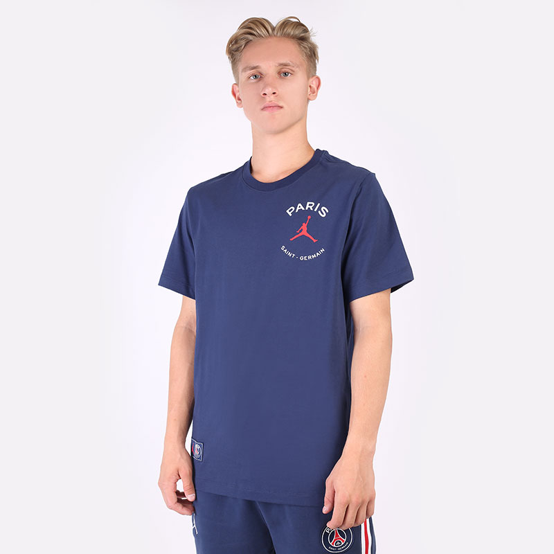 мужскую синюю  футболка jordan paris saint-germain logo t-shirt DB6514-410 - цена, описание, фото 1