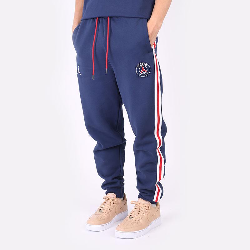 мужские синие  брюки jordan paris saint-germain fleece pant DB6502-410 - цена, описание, фото 1