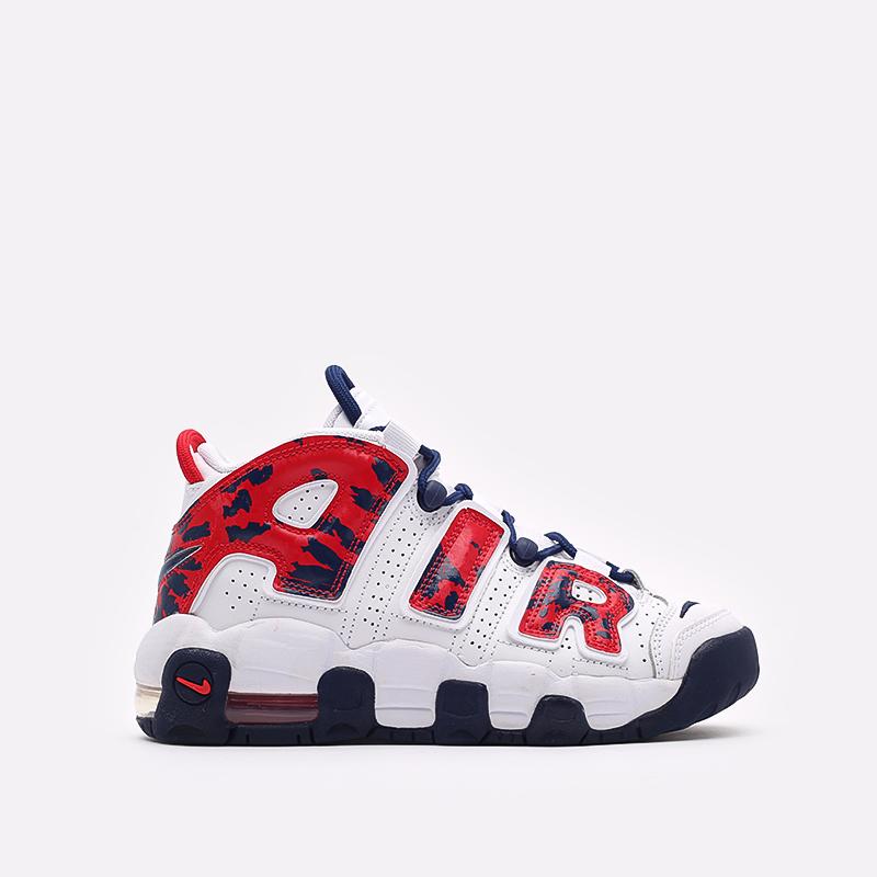 женские белые, красные  кроссовки nike air more uptempo (gs) CZ7885-100 - цена, описание, фото 1