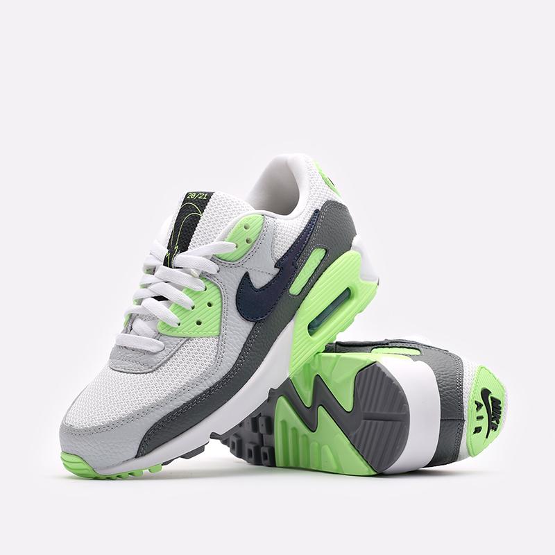 мужские белые, серые, зелёные  кроссовки nike air max 90 DJ6897-100 - цена, описание, фото 2