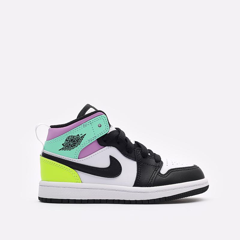 детские разноцветные  кроссовки jordan 1 mid (ps) 640734-175 - цена, описание, фото 1