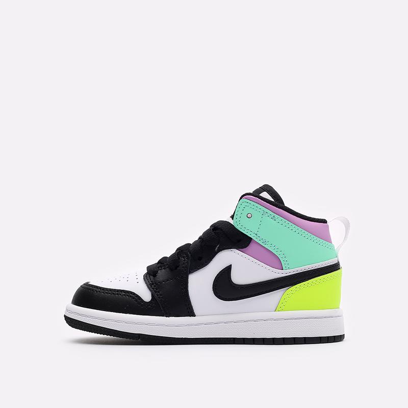 детские разноцветные  кроссовки jordan 1 mid (ps) 640734-175 - цена, описание, фото 2