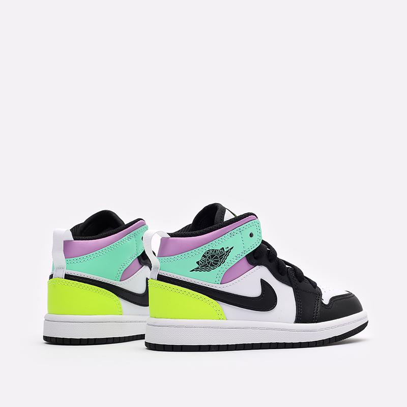 детские разноцветные  кроссовки jordan 1 mid (ps) 640734-175 - цена, описание, фото 3