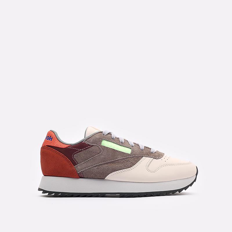 женские бежевые, коричневые, оранжевые  кроссовки reebok cl lthr ripple FX2991 - цена, описание, фото 1