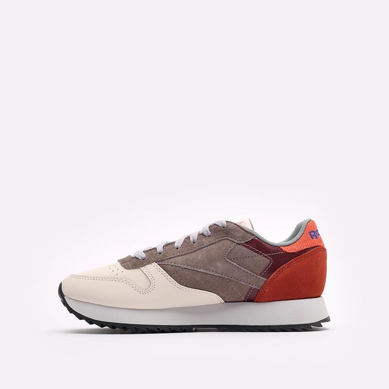 женские бежевые, коричневые, оранжевые  кроссовки reebok cl lthr ripple FX2991 - цена, описание, фото 2