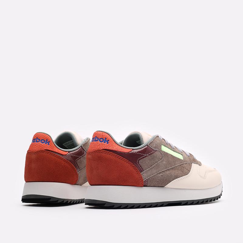 женские бежевые, коричневые, оранжевые  кроссовки reebok cl lthr ripple FX2991 - цена, описание, фото 3