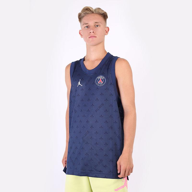 мужскую синюю  майку jordan paris saint-germain mesh shirt DB6478-410 - цена, описание, фото 1