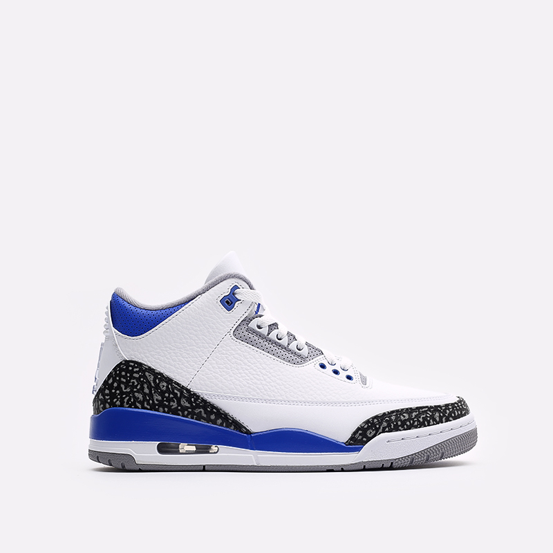 мужские белые, синие  кроссовки jordan 3 retro CT8532-145 - цена, описание, фото 1