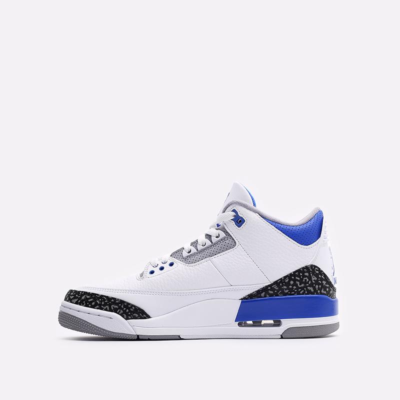 мужские белые, синие  кроссовки jordan 3 retro CT8532-145 - цена, описание, фото 2