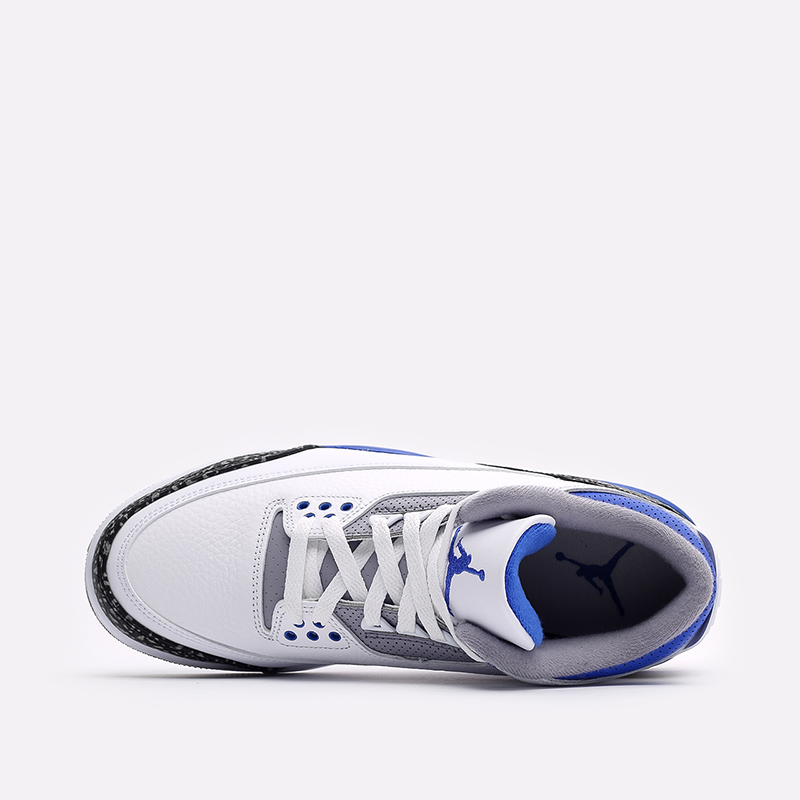 мужские белые, синие  кроссовки jordan 3 retro CT8532-145 - цена, описание, фото 6